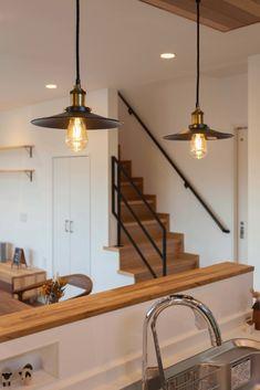 #キッチン #照明 #ペンダント #階段 #アイアン手すり #レッドシダー Wall Lights, Ceiling Lights, Cozy House, Home Kitchens, New Homes, Stairs, House Design, Interior Design, Lighting