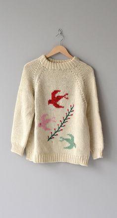 Winged Migration sweater vintage wool sweater by DearGolden Moda Crochet, Knit Crochet, Farm Girl Style, My Style, Vintage Sweaters, Wool Sweaters, Intarsia Knitting, Country Girls Outfits, Chunky Wool