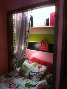 Bed in closet. I painted and decorated this for my friends little girls room. Toddler Bedrooms, E Room, Master Room, Small Bedroom Hacks, Bedroom Diy, Bedroom Makeover, Dream Rooms, Bed In Closet, Kids Rooms Diy