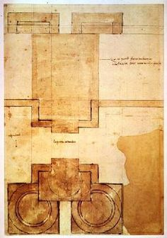 Michelangelo (Buonarroti) - Plan of the drum of the cupola of the Church of St. Peter's Basilica (pen & ink on paper)