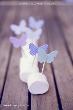 Décoration marshmallow et papillon Butterfly Garden Party, Butterfly Birthday Party, Butterfly Baby Shower, Garden Birthday, Pink Butterfly, Baby Birthday, First Birthday Parties, First Birthdays, Butterfly Decorations
