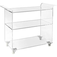 """Clear Acrylic Bar Cart on Wheels - 3-Tier Lucite Rolling Drinks Trolley - Holds Beverages, Stemware, Barware or LPs/Vinyl Records - 36"""" L x 15""""D x 29.5""""H, 1/2"""" Thick"""