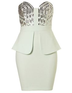 Channel your inner Kim K in this sparkly, white, peplum number!