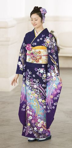Japanese traditional kimono is truly stunning. The colors are magnificent. Japanese Costume, Japanese Kimono, Japanese Girl, Traditioneller Kimono, Furisode Kimono, Traditional Kimono, Traditional Dresses, Traditional Japanese, Japanese Outfits