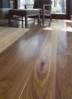 Carlisle Wide Plank Floors Walnut Flooring in a Room with a View. The quality of a Carlisle floor is matched only by that of the customer experience.