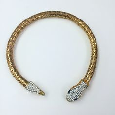 Crystal Snake Collar Necklace Never worn. Flexible tube so you can expand it and fit it comfortably on your neck. Definitely a great statement piece to have. Jewelry Necklaces