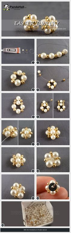 DIY bead earring step by step photo tutorial