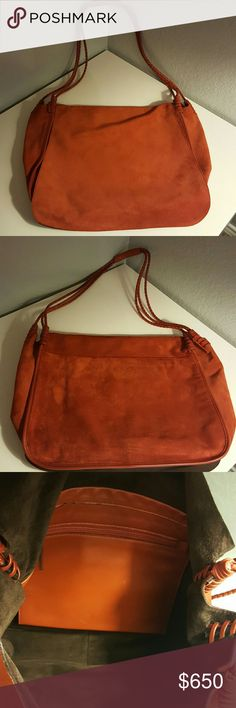 YSL Messenger Bag This is so retro! It's a large, rust color, suede, 3 braided straps, 1 interior zipper pocket, brown suede lining. It's in really good condition with minimal amount of wear on the top handle. Yves Saint Laurent Bags Travel Bags