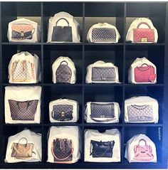 Handbag Storage Idea: Protect Your Bags, But Keep Them Visible – Purses And Gandbags Organization Organizing Purses In Closet, Closet Storage, Handbag Storage, Handbag Organization, Handbag Display, Bag Closet, Walk In Closet Design, Ideas Para Organizar, Cute Pigs