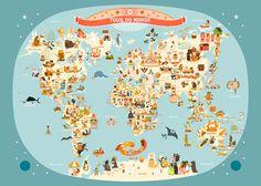 Affiche Carte du Monde, Illustration pour Enfants de Julie Mercier