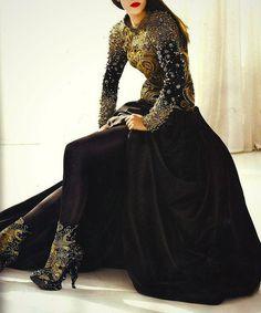 Alexander McQueen high neck on gown crinoline period