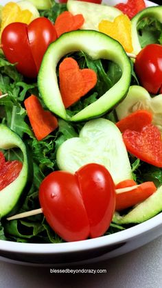 'I Heart Salad' - an easy and fun way to serve salad to your family this Valentine's Day. There's a recipe for gluten free honey mustard salad dressing included too! Happy Valentine's Day!!! ♥