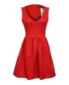 V-neckline Sleeveless Skater Dress with Embroidery - stretch viscose