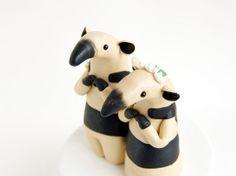 Anteater Wedding Cake Topper - Tamandua Anteaters by Bonjour Poupette