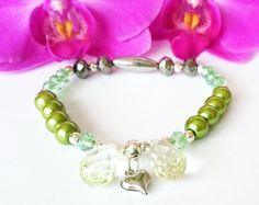 Bransoletka+zielona+z+soplami++w+Cristallin+na+DaWanda.com