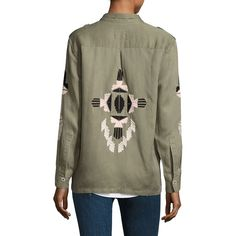 Rails Elliot Aztec Embroidery Military Jacket ($88) ❤ liked on Polyvore featuring outerwear, jackets, linen jackets, aztec jackets, brown jacket, brown linen jacket and pleated jacket