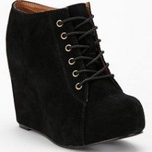 Jeffrey Campbell 99 Tie Wedge - Black Suede.  Excuse me, I need to go and track these down.