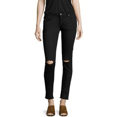 ANINE BING Women's Distressed Skinny Jean - Black, Size 25 ($69) ❤ liked on Polyvore featuring jeans, black, destroyed jeans, ripped skinny jeans, high waisted ripped jeans, high waisted skinny jeans and destructed skinny jeans