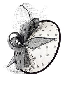 Feather & Bow Spotted Mesh Fascinator