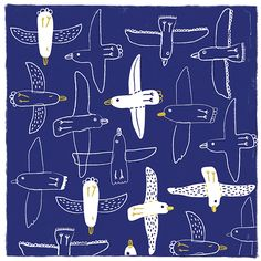 Pattern with flying birds by Carolyn Gavin Surface Pattern Design, Pattern Art, Print Patterns, Motifs Textiles, Textile Prints, Pattern Illustration, Children's Book Illustration, Illustrator, Kids Prints