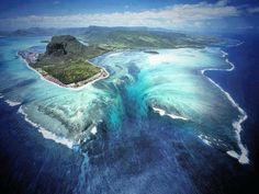Aerial illusion of an underwater waterfall, Mauritious Island