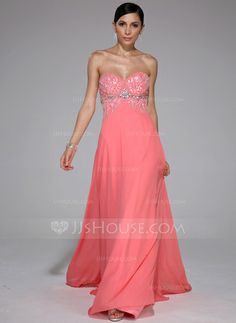 Prom Dresses - $132.99 - A-Line/Princess Sweetheart Sweep Train Chiffon Prom Dress With Beading Sequins (017041109) http://jjshouse.com/A-Line-Princess-Sweetheart-Sweep-Train-Chiffon-Prom-Dress-With-Beading-Sequins-017041109-g41109