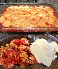 Rhubarb Dump Cake Recipe - 4-5 cups diced rhubarb   3/4 cup sugar   1 3oz package strawberry gelatin   1 18oz box yellow cake mix (with pudding in mix)   1/2 cup butter   1 cup water  350 for 45 min.