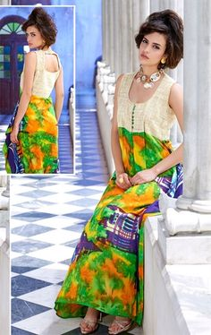 Picture of Fabulous Beige and Green Designer Long Kurti
