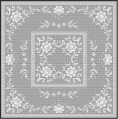 2-1-1001-pnt  Rows / Columns: 245/245 Ref. No: 2-1-1001 Euro Filet Crochet Pattern Price: 9.80 Stitches: open mesh, solid mesh, popcorn stitch