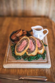 Emily Watkins' twist on the classic beef wellington, served with duck fat roasties Beef Wellington Recipe For Two, Pate Recipes, Recipe For 2, Wellington Food, Meals For Two, Other Recipes, Food Videos, Roast, Easy Meals