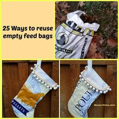 What do you do with empty feed bags? I like to recycle mine. Here are my 25 favorite uses for empty feed bags. Feed Bag Tote, Feed Bags, Tote Bag, Sewing Crafts, Sewing Projects, Fair Projects, Sewing Tips, Hobby Farms, Christmas Bags