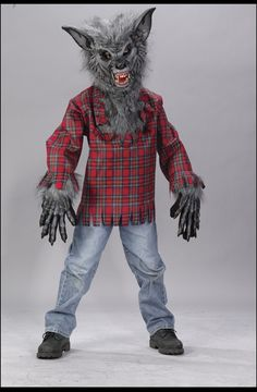 Get growling in our Hungry Howler Werewolf Costume for boys! Featuring a furry wolf mask with bared teeth and evil red eyes this scary monster costume is wild. The red plaid shirt has gray faux fur on