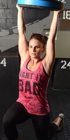 """""""Want It Bad"""" pink burnout racerback tank top.  Fitness apparel for women."""