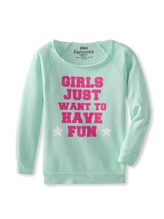 40% OFF Mini Fashionista Girl's Girls Just Want To Have Fun Sweater (Mint)