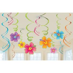Pack of 12 Hawaiian Luau Hibiscus swirl decorations. Hawaiian Luau party supplies discounted at Discount Party Supplies. Hawaiian Party Supplies, Hawaiian Luau Party, Hawaiian Birthday, Luau Birthday, Adult Luau Party, Luau Pool Parties, Luau Theme Party, Party Themes, Party Ideas
