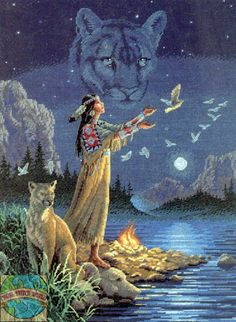 Native American Art Paintings spirit animals | Gold Collection - Hidden Spirits - Cross Stitch World
