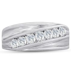 Mens 1ct Diamond Ring In 10K White Gold G-H I2-I3
