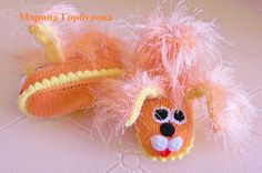 Вязаные пинетки для новорождённых Собачки Персики - Ярмарка Мастеров - ручная работа, handmade