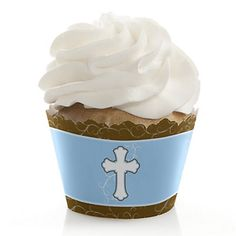 Little Miracle Boy Blue & Brown Cross - Baptism Cupcake Wrappers | BigDotOfHappiness.com
