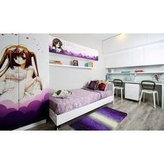 Fairytale Abode-Modern Bedroom Design - A pop of different hues of purple on a stark white backdrop make this bedroom perfect for your little angel. Manga themed cupboard and cabinet with a sleek single bed and ombre rug form a perfect set. A neat study desk with chairs and built-in handle cupboards perfect this kids