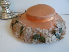 Vintage Peach Wide Brim Hat with Gray Flower and Leaf Edge and Satin Ribbon Bow - Mid Century Hat - by SecondWindShop on Etsy
