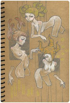 Sketchbook Illustration by Audrey Kawasaki Audrey Kawasaki, Amazing Drawings, Art Drawings, Artist Sketchbook, Sketchbook Ideas, Hippie Art, Erotic Art, Graphic Design Inspiration, Female Art