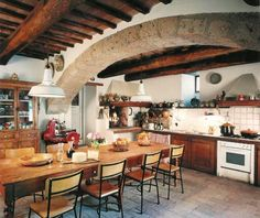 Kitchen in typical Italian style: #terracotta floor and wooden beams