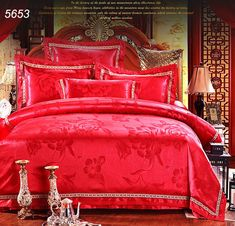 Chinese traditional Red wedding bed covers tencel tribute jacquard silk bedding sets colorful bed clothes 4pcs 6pcs bed set 5653