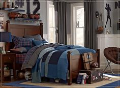 Get inspired with teen bedroom decorating ideas & decor from Pottery Barn Teen. From videos to exclusive collections, accessorize your dorm room in your unique style. Football Rooms, Football Bedroom, Boys Bedroom Furniture, Teen Furniture, Bedroom Ideas, Luxury Furniture, Wood Furniture, Teen Boy Bedding, Teen Bedroom