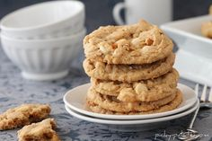 Double White Chocolate and Pretzel Peanut Butter Cookies with Sea Salt