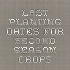 Last planting dates for second-season crops
