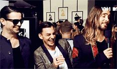Thirty Seconds To Mars at The 2014 Grammy Awards. God only knows what Jared Leto said here. GIF