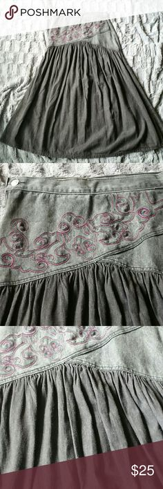Jeanjer Vintage Denim Flow Skirt Great condition  Bottom part is a soft flowy denim. Side zipper and button closure  Embroidered scrolls  Size 9/10 Jeanjer Skirts Maxi