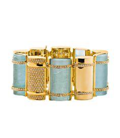 "Faraone Mennella ""The Bullet"" bracelet in 18k yellow gold w/ aquamarines & diamonds"
